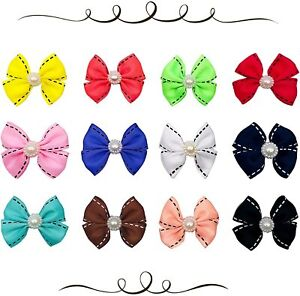 12x Bowknot Dog Hair Bows with French Barrette Clips Pet Puppies Yorkie Grooming