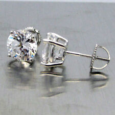 Made in USA Sterling Silver Round CZ 6 Carat tw 4 Prong Screw Back Stud Earrings