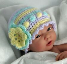 CROCHET PATTERN (INSTRUCTIONS): Baby hat, bobble stitch and flower trim, ref P32