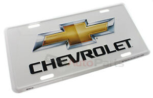 NEW!!! CHEVROLET LICENSE PLATE ALUMINUM STAMPED EMBOSSED METAL BOWTIE WHITE TAG