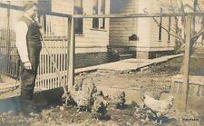 c1910 Backyard Chicken Coop Man smoking Cigar RPPC real photo postcard 3486