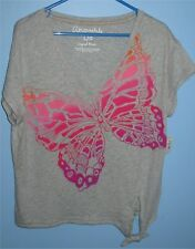 Women's Large Aeropostale Butterfly V Neck T Shirt Grey Soft Tee