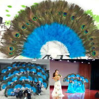 New Belly Dance Peacock Fan Folding Feather Hand Fan Costume Wedding Party Decor