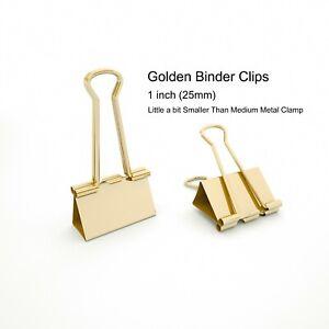 Golden Binder Clips Little a bit Smaller Than Medium Metal Clamp 1inch (25mm)