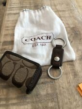 Coach Signature C Canvas Brown Contact Lens Case With Mirror Inside AND Keychain