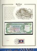 Belize Banknote 1 Dollar 1987 P 46c UNC  w/FDI UN FDI FLAG STAMP Birthday 552013