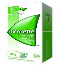 Nicorette goma de mascar 2mg nicotina Menta Fresca (105 piezas, 1 Caja) Caja Sellada Exp 2020