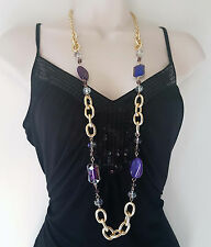 """Stunning 38"""" long Gold tone & PURPLE tone chunky link chain & bead necklace"""