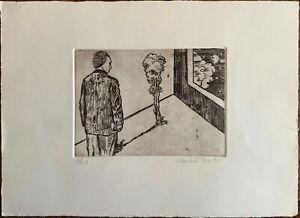 Claudio Tesser incisione acquaforte Figura A  35x25 firmata numerata  '91