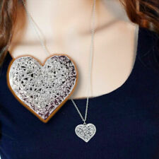 Unique 925 Sterling Silver Hollow Heart Shaped Snake Bone Chain Pendant Necklace
