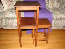 Vintage Set of 2 Oak Nesting Tables  End Table Accent Table Plant Stand