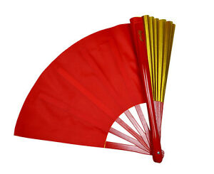 China Kung Fu Tai Chi martial art Dance Practice Duplex Dual color fan Red/Gold