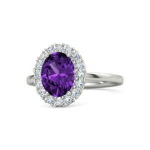 Oval Cut 1.36 Ct Amethyst Engagement Ring Solid 14K Hallmarked White Gold
