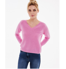 PURE COLLECTION Cashmere Lofty V Neck Sweatshirt in Azalea Pink - SIZE UK 10