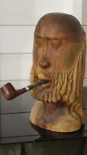 Kelly Norman Wood Sculpture Bearded Man Bust Carving