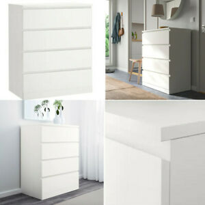 Ikea Malm White Chest of 4 Drawers Home Office Living Room Storage Organisation