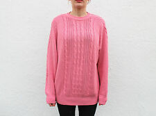 Vintage 1990s Rose Pink Cable Stitch Slouchy Oversized Cotton Jumper  M/L
