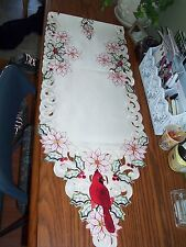 Christmas Red Cardinal Embroidered Table Runner 68x13 Poinsettia & Holly