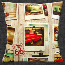Vintage Cars Cushion Cover 16x16 inch 40cm VW Camper Route 66 Pinned Old Photos