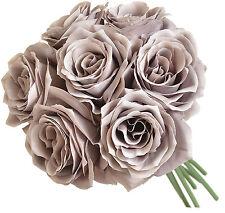 GRAY ASH  ~ 7 Roses Bridal Bouquet Silk Wedding Flowers Centerpieces Bridesmaids