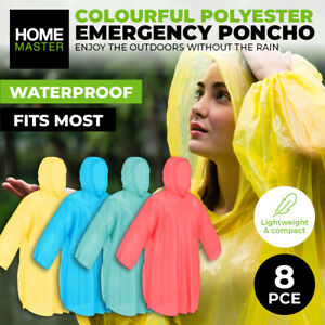Home Master® 8PK Emergency Poncho Colourful Lightweight Quick Drying Uni-Sex