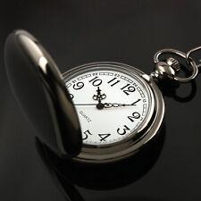 Pocket Watch Black Stainless Steel Case Retro Quartz Men's Antique Chain Vintage