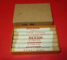 "Vintage Box of 12 DIXON 4"" Thin Leads No.402 Red Wood Tubes UNOPENED"