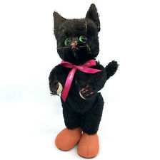 Kersa Germany Black Tom Cat 12in Doll Puss n Boots 1950s ID Tag Mohair Plush Vtg