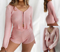 Womens Casual Sets Plus size Long Sleeve Winter Bodycon Sexy Tops Pants Sets
