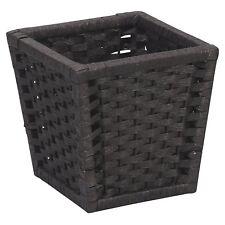 Black Wicker Waste Basket Paper Rope Planter Pot Bed Bath Room Trash Storage New