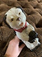 "Vintage Dog Figurine Ceramic Black White Hand Painted Standing Rear Legs 9"" Tall"