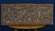 "IMPRESSIVE 43"" Vintage Hand Carved Wood Storyboard - Ethnic Men and Women UNIQUE"