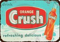 """1953 Drink Orange Crush Rustic Retro Metal Sign 8"""" x 12"""""""