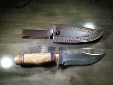 Large Damascus Bowie knife w blonde color wood handle & leather sheath