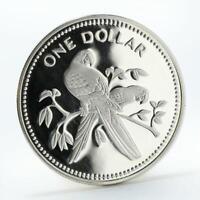Belize 1 dollar Scarlet Macaw bird silver coin 1975