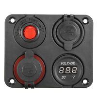 12V Power Socket 4 Hole Panel Switch Marine Car RV Voltmeter Dual USB Port Good