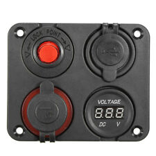 12V Power Socket 4 Hole Panel Switch Marine Car RV Voltmeter Dual USB Port Good