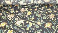 15Y yards Kaufmann Black Floral Passage To India Upholstery Fabric Preshrunk