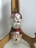 Set of 2 Santa Claus Head Christmas Ornaments