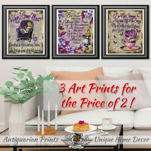 Original ART Print DICTIONARY ANTIQUE BOOK PAGE set of 3 Alice in Wonderland