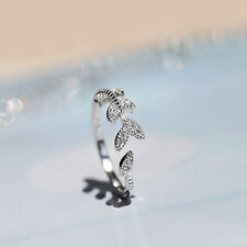 Silver CZ Crystal Leaf Adjustable Ring Women's Fashion Jewelry