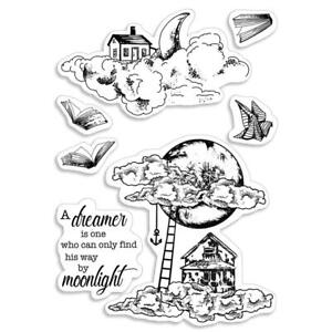 MOONLIGHT Dreamer Moon & Me CLEAR Rubber Stamps Set CIAO BELLA PS6039 New