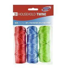 3x bobine per uso domestico SPAGO CORDA casa ufficio lavoro giardino rosso blu verde Pack