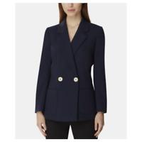 Tahari Asl Double-Breasted Notch Blazer Jacket Collar Basic Navy Blue Size 16