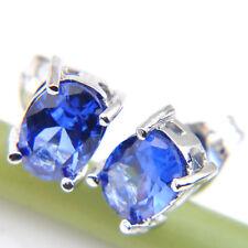 Sapphire Gems Silver Stud Earrings Royal Style Gentle Jewelry Dazzling Blue