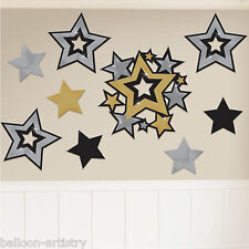 30 Assorted Hollywood Silver Gold Black STARS Value Party Cutout Decorations