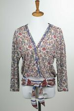 Self Esteem Size Large Floral Print Bell Sleeve Tie Front Peasant Blouse Top