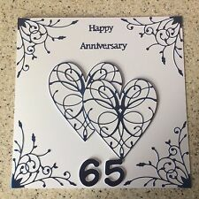 Handmade Blue Sapphire Wedding Anniversary card Happy 65 th Anniversary large