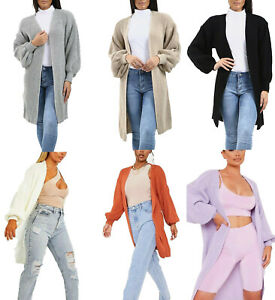Womens Ladies Open Front Style Knitted 3/4 Length Ballon Sleeve Cardigan Sweater