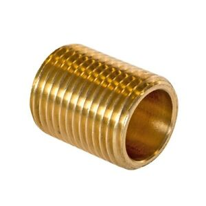 """3//8/"""" Right-Brass 1x Double Nipple Threaded 1//4/"""" Right"""